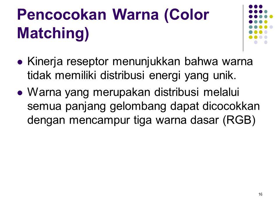 Pencocokan Warna (Color Matching) Kinerja reseptor menunjukkan bahwa warna tidak memiliki distribusi energi yang unik. Warna yang merupakan distribusi