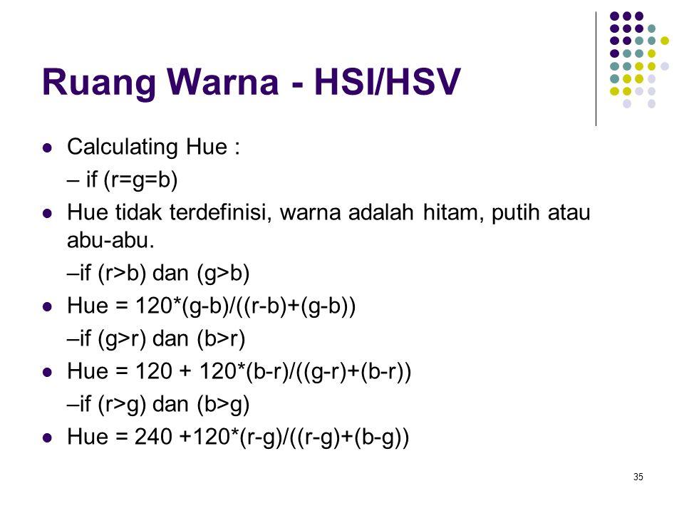 Ruang Warna - HSI/HSV Calculating Hue : – if (r=g=b) Hue tidak terdefinisi, warna adalah hitam, putih atau abu-abu. –if (r>b) dan (g>b) Hue = 120*(g-b