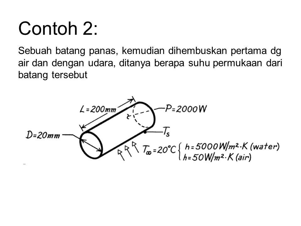 Sebuah batang panas, kemudian dihembuskan pertama dg air dan dengan udara, ditanya berapa suhu permukaan dari batang tersebut Contoh 2: