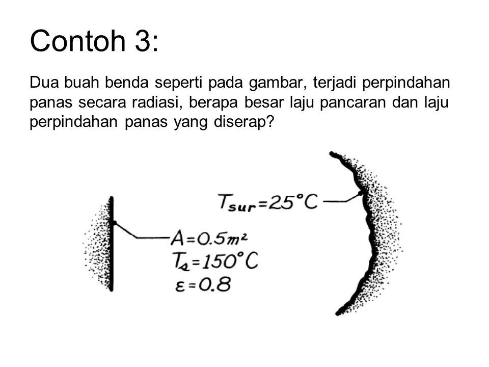 Contoh 3: Dua buah benda seperti pada gambar, terjadi perpindahan panas secara radiasi, berapa besar laju pancaran dan laju perpindahan panas yang diserap?