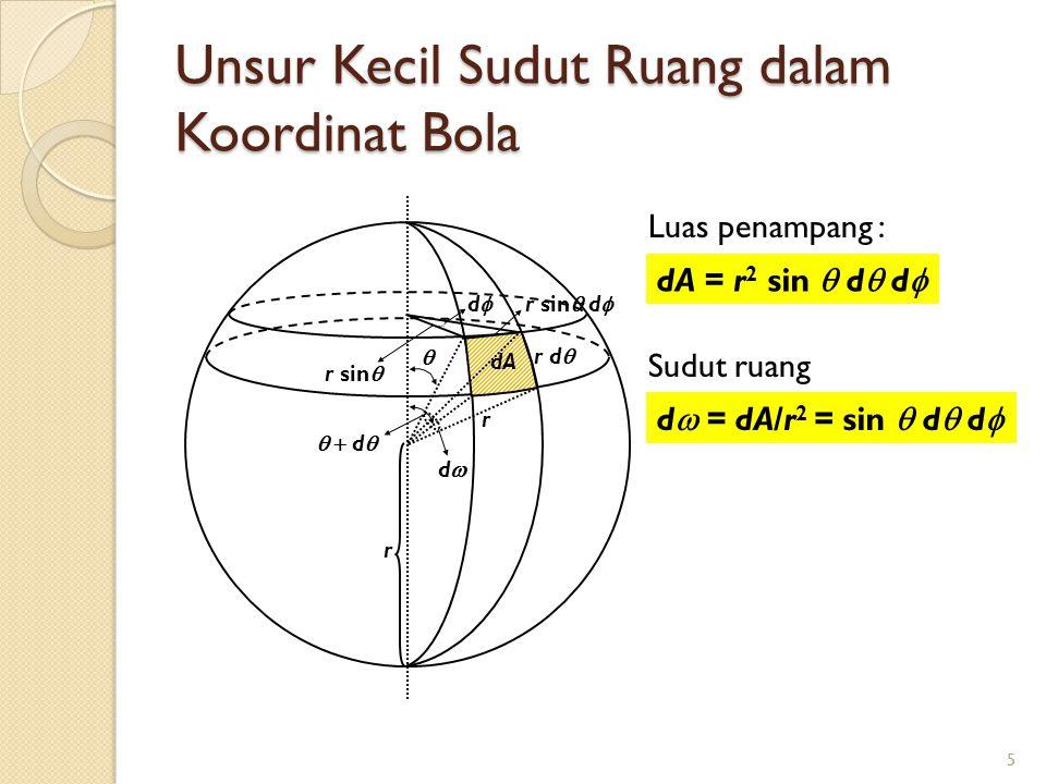 5 Unsur Kecil Sudut Ruang dalam Koordinat Bola 5   d  dd r d  dA r sin  dd r sin  d  r r Luas penampang : Sudut ruang dA = r 2 sin  d  d  d  = dA/r 2 = sin  d  d 