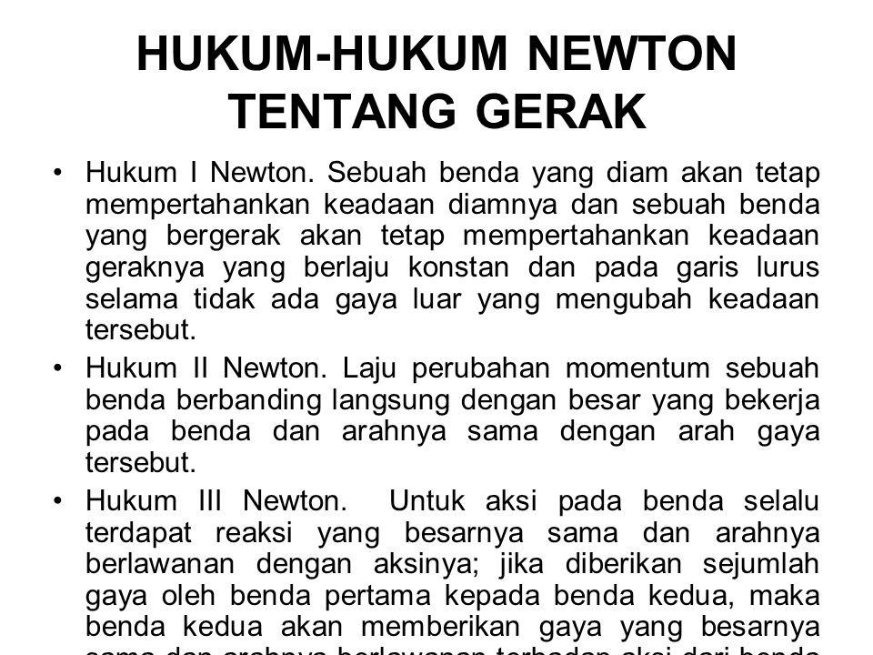 HUKUM-HUKUM NEWTON TENTANG GERAK Hukum I Newton.