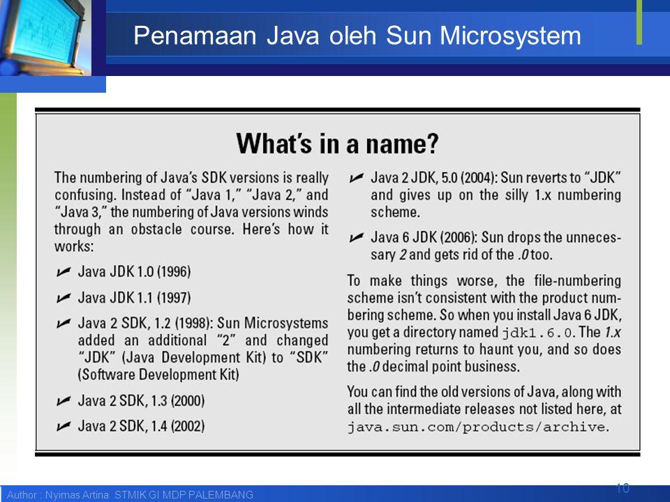 Author : Nyimas Artina STMIK GI MDP PALEMBANG Penamaan Java oleh Sun Microsystem 10