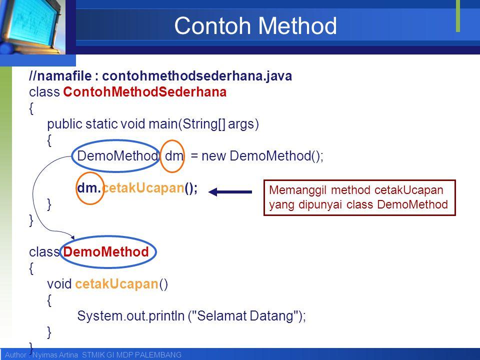 Author : Nyimas Artina STMIK GI MDP PALEMBANG Contoh Method //namafile : contohmethodsederhana.java class ContohMethodSederhana { public static void m