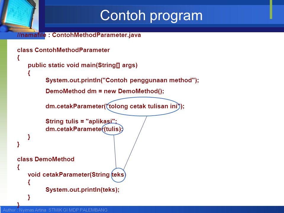 Author : Nyimas Artina STMIK GI MDP PALEMBANG Contoh program //namafile : ContohMethodParameter.java class ContohMethodParameter { public static void