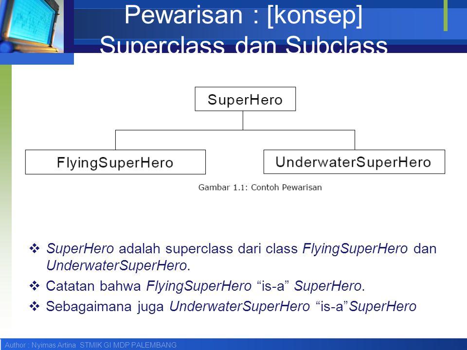 Author : Nyimas Artina STMIK GI MDP PALEMBANG Pewarisan : [konsep] Superclass dan Subclass  SuperHero adalah superclass dari class FlyingSuperHero da