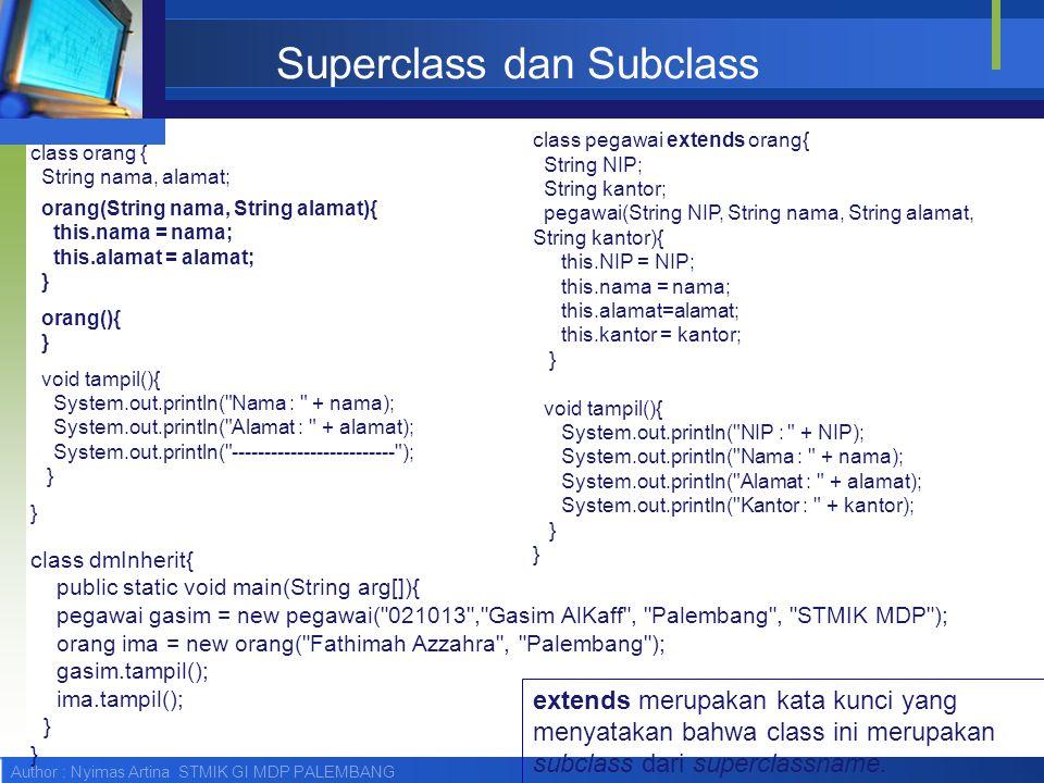 Author : Nyimas Artina STMIK GI MDP PALEMBANG Superclass dan Subclass class orang { String nama, alamat; orang(String nama, String alamat){ this.nama