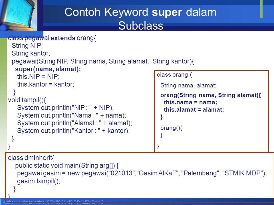 Author : Nyimas Artina STMIK GI MDP PALEMBANG Contoh Keyword super dalam Subclass class orang { String nama, alamat; orang(String nama, String alamat)