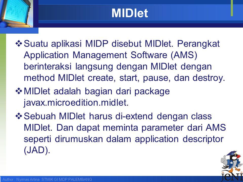 Author : Nyimas Artina STMIK GI MDP PALEMBANG MIDlet  Suatu aplikasi MIDP disebut MIDlet. Perangkat Application Management Software (AMS) berinteraks