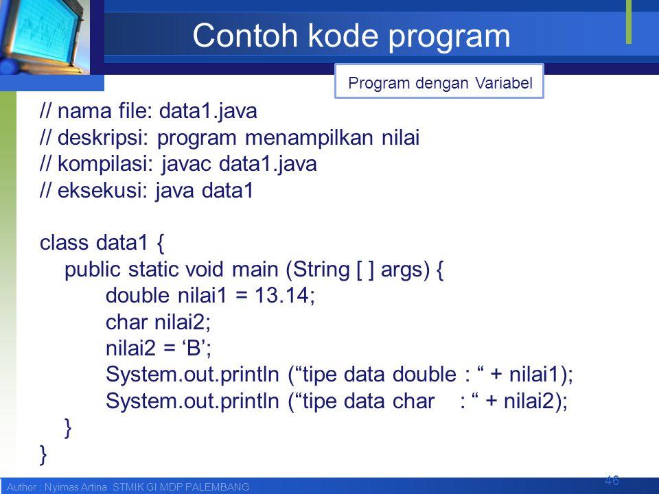 Author : Nyimas Artina STMIK GI MDP PALEMBANG Contoh kode program // nama file: data1.java // deskripsi: program menampilkan nilai // kompilasi: javac