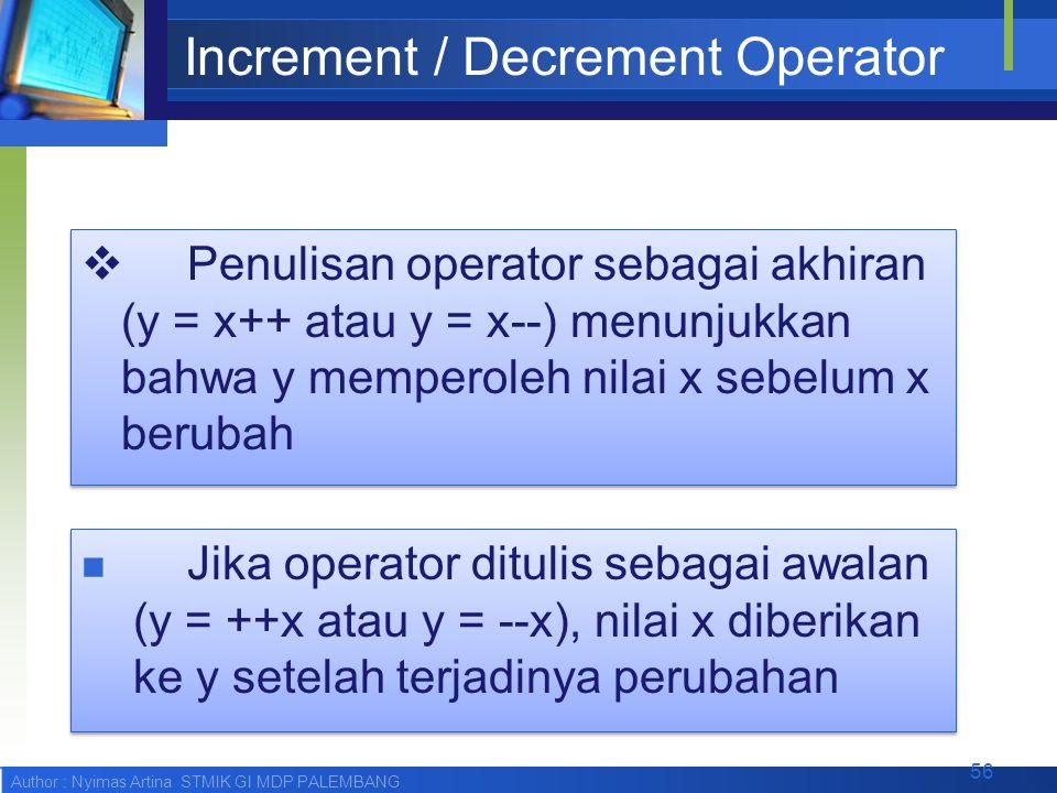Author : Nyimas Artina STMIK GI MDP PALEMBANG Increment / Decrement Operator  Penulisan operator sebagai akhiran (y = x++ atau y = x--) menunjukkan b