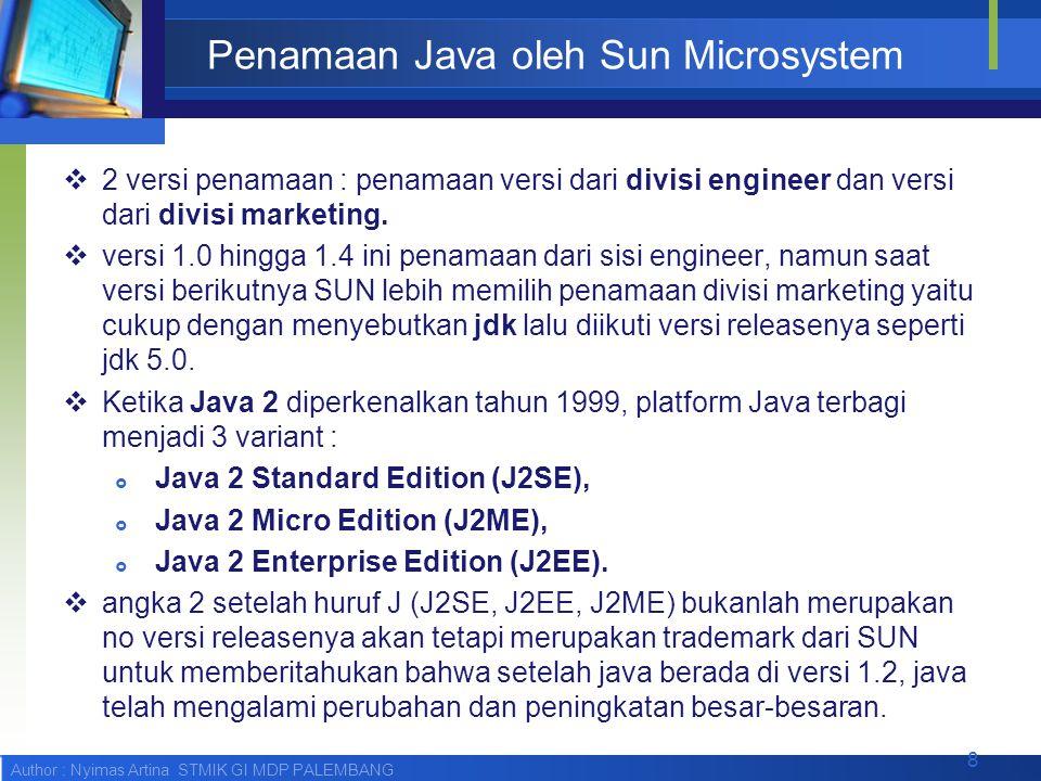 Author : Nyimas Artina STMIK GI MDP PALEMBANG Penamaan Java oleh Sun Microsystem  2 versi penamaan : penamaan versi dari divisi engineer dan versi da