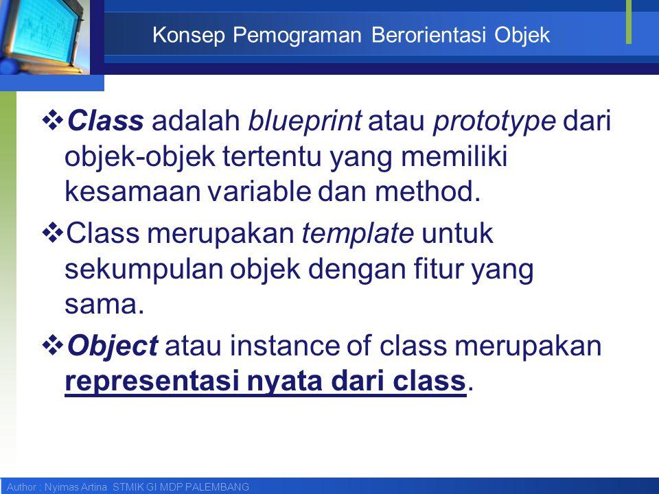 Author : Nyimas Artina STMIK GI MDP PALEMBANG Konsep Pemograman Berorientasi Objek  Class adalah blueprint atau prototype dari objek-objek tertentu y