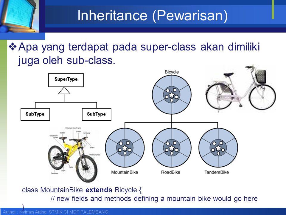 Author : Nyimas Artina STMIK GI MDP PALEMBANG Inheritance (Pewarisan)  Apa yang terdapat pada super-class akan dimiliki juga oleh sub-class. class Mo