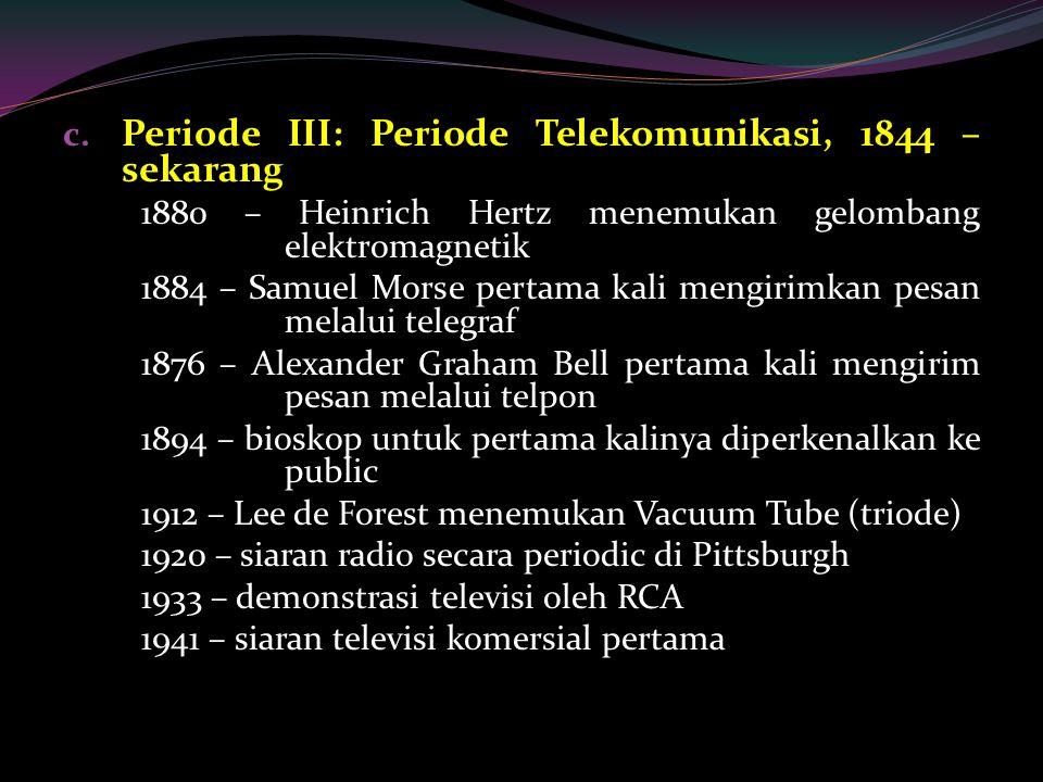 c. Periode III: Periode Telekomunikasi, 1844 – sekarang 1880 – Heinrich Hertz menemukan gelombang elektromagnetik 1884 – Samuel Morse pertama kali men