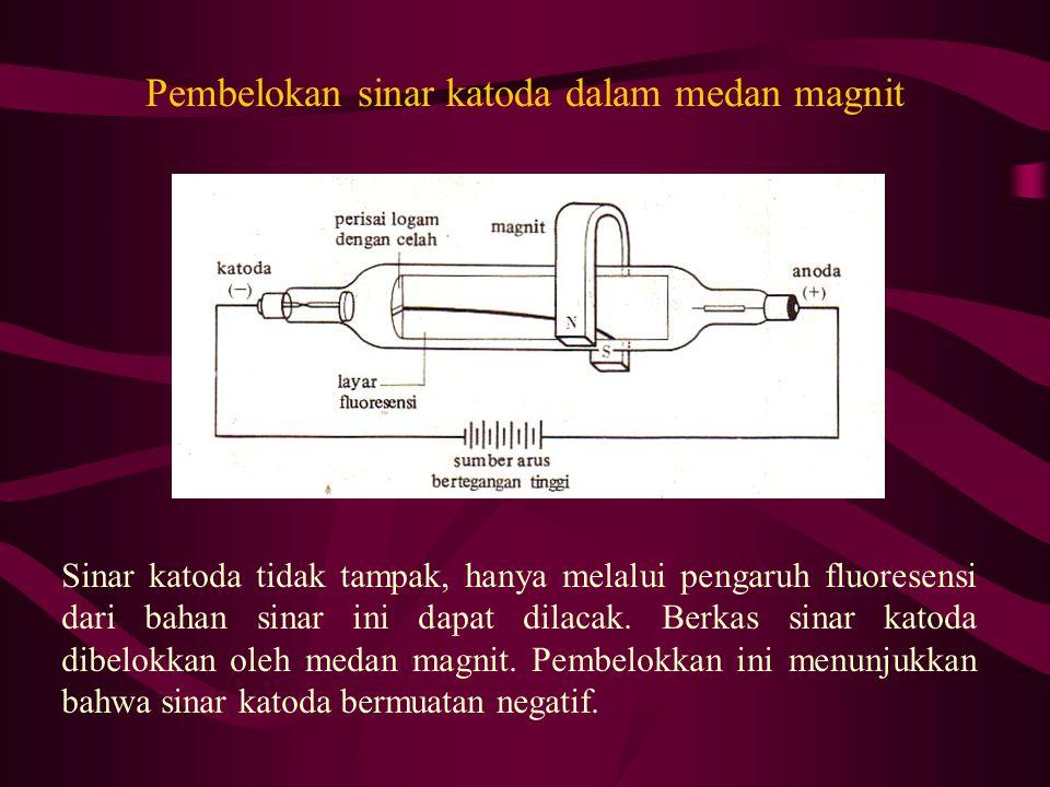 Pembelokan sinar katoda dalam medan magnit Sinar katoda tidak tampak, hanya melalui pengaruh fluoresensi dari bahan sinar ini dapat dilacak. Berkas si