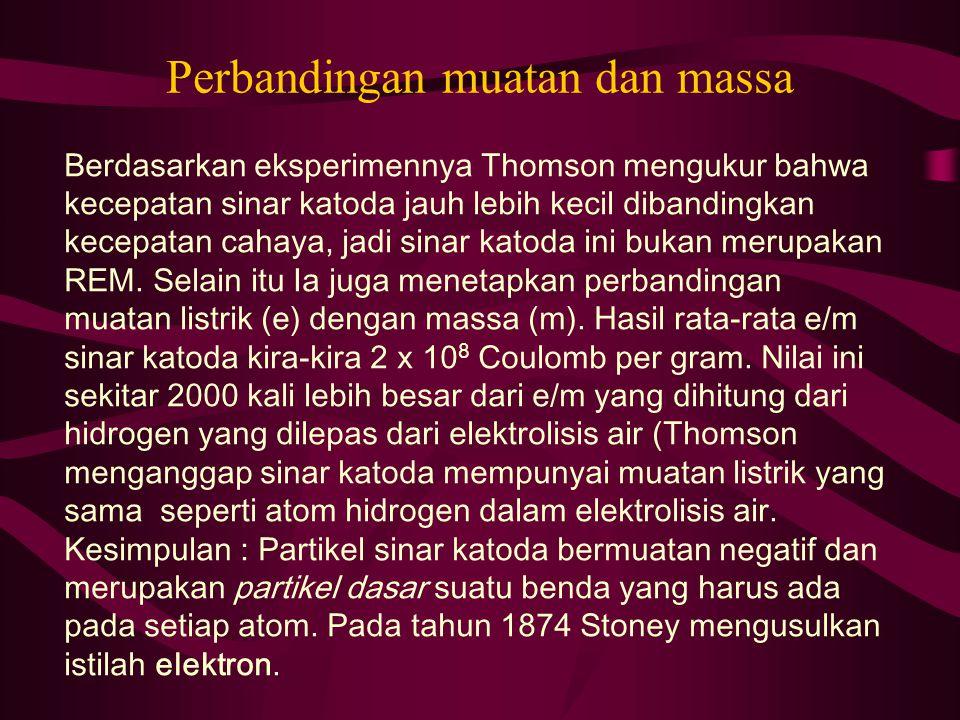 Perbandingan muatan dan massa Berdasarkan eksperimennya Thomson mengukur bahwa kecepatan sinar katoda jauh lebih kecil dibandingkan kecepatan cahaya,