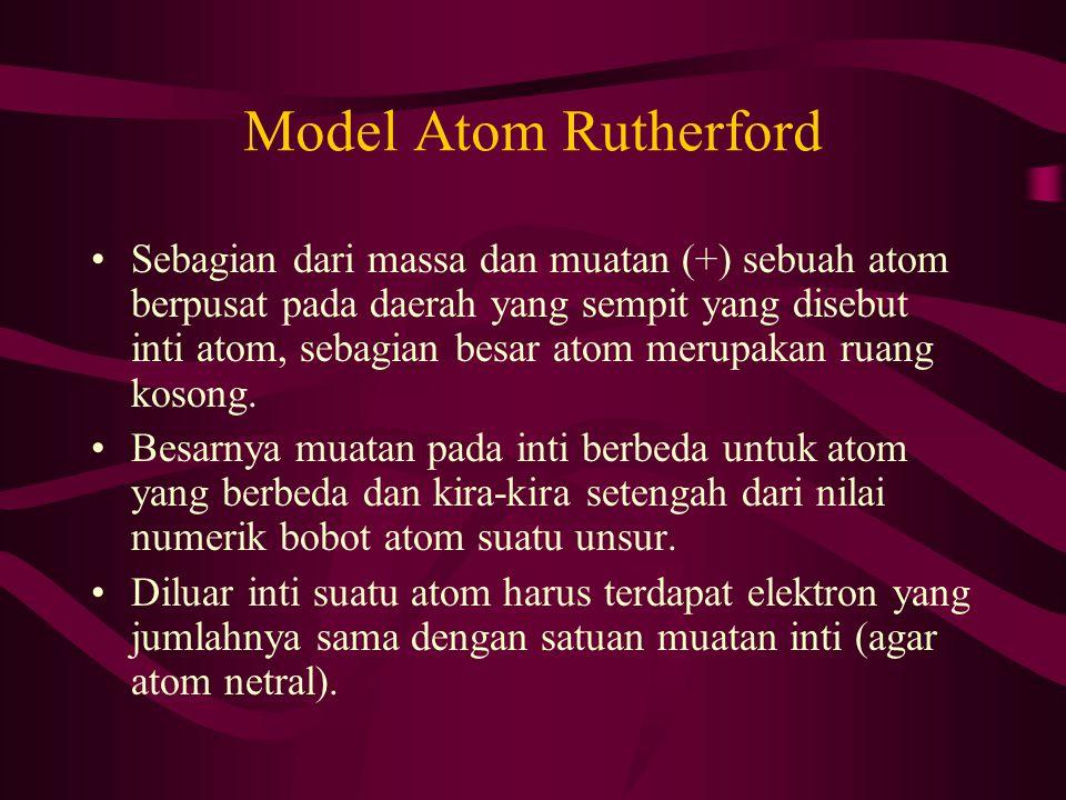 Model Atom Rutherford Sebagian dari massa dan muatan (+) sebuah atom berpusat pada daerah yang sempit yang disebut inti atom, sebagian besar atom meru