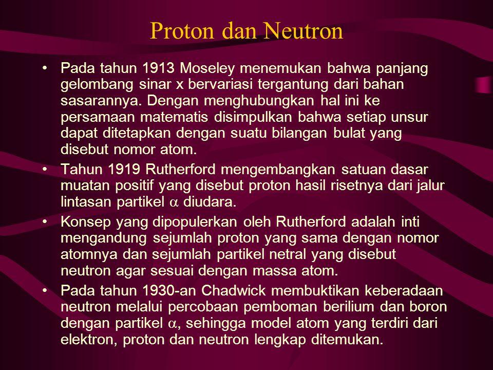 Proton dan Neutron Pada tahun 1913 Moseley menemukan bahwa panjang gelombang sinar x bervariasi tergantung dari bahan sasarannya. Dengan menghubungkan