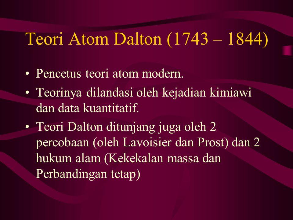 Teori Atom Dalton (1743 – 1844) Pencetus teori atom modern. Teorinya dilandasi oleh kejadian kimiawi dan data kuantitatif. Teori Dalton ditunjang juga