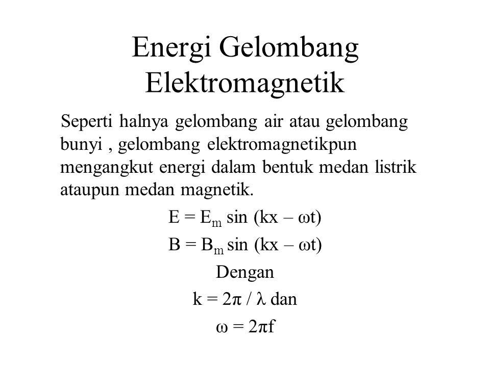 Energi Gelombang Elektromagnetik Seperti halnya gelombang air atau gelombang bunyi, gelombang elektromagnetikpun mengangkut energi dalam bentuk medan