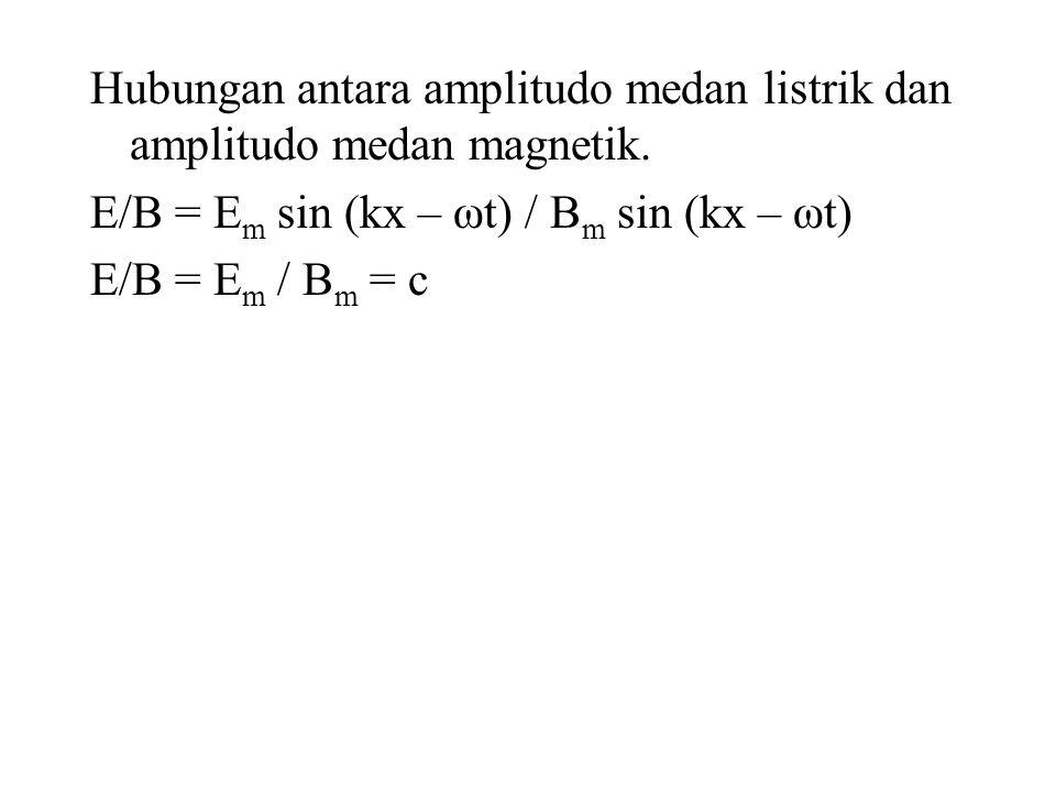 Hubungan antara amplitudo medan listrik dan amplitudo medan magnetik. E/B = E m sin (kx – ωt) / B m sin (kx – ωt) E/B = E m / B m = c