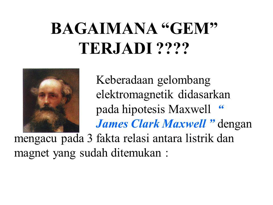 """BAGAIMANA """"GEM"""" TERJADI ???? Keberadaan gelombang elektromagnetik didasarkan pada hipotesis Maxwell """" James Clark Maxwell """" dengan mengacu pada 3 fakt"""