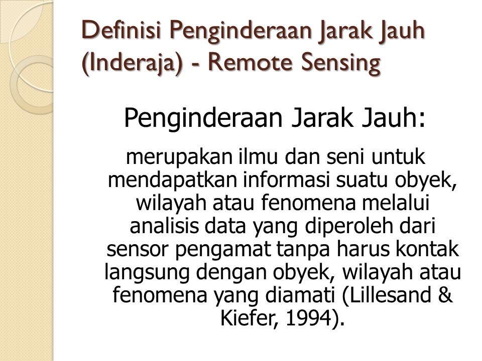 Definisi Penginderaan Jarak Jauh (Inderaja) - Remote Sensing Penginderaan Jarak Jauh: merupakan ilmu dan seni untuk mendapatkan informasi suatu obyek, wilayah atau fenomena melalui analisis data yang diperoleh dari sensor pengamat tanpa harus kontak langsung dengan obyek, wilayah atau fenomena yang diamati (Lillesand & Kiefer, 1994).