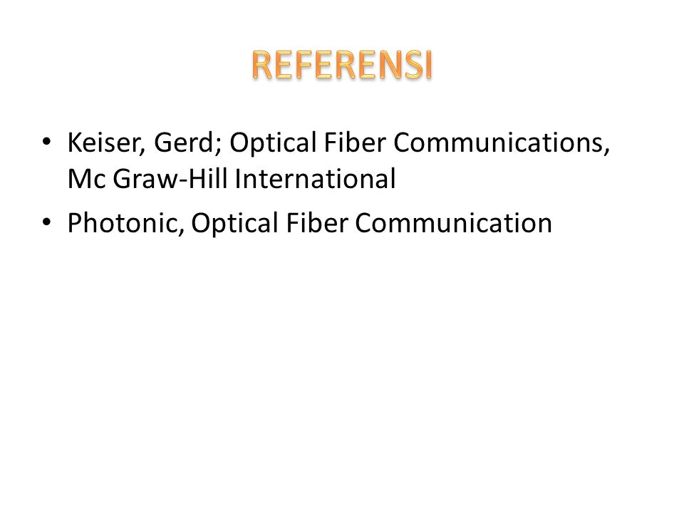 Keiser, Gerd; Optical Fiber Communications, Mc Graw-Hill International Photonic, Optical Fiber Communication