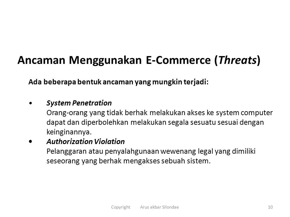 Ancaman Menggunakan E-Commerce (Threats) Ada beberapa bentuk ancaman yang mungkin terjadi: System Penetration Orang-orang yang tidak berhak melakukan akses ke system computer dapat dan diperbolehkan melakukan segala sesuatu sesuai dengan keinginannya.