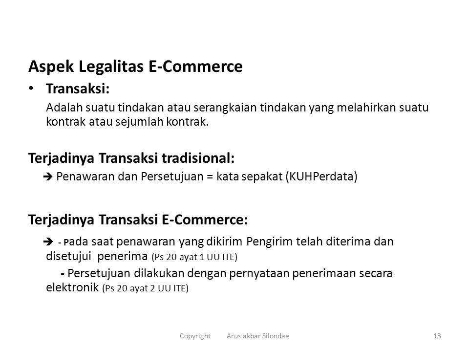 Aspek Legalitas E-Commerce Transaksi: Adalah suatu tindakan atau serangkaian tindakan yang melahirkan suatu kontrak atau sejumlah kontrak.
