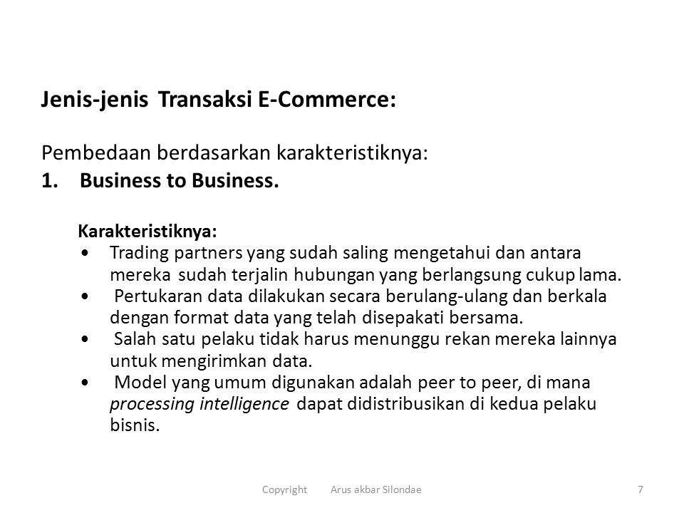 Jenis-jenis Transaksi E-Commerce: Pembedaan berdasarkan karakteristiknya: 1.Business to Business.