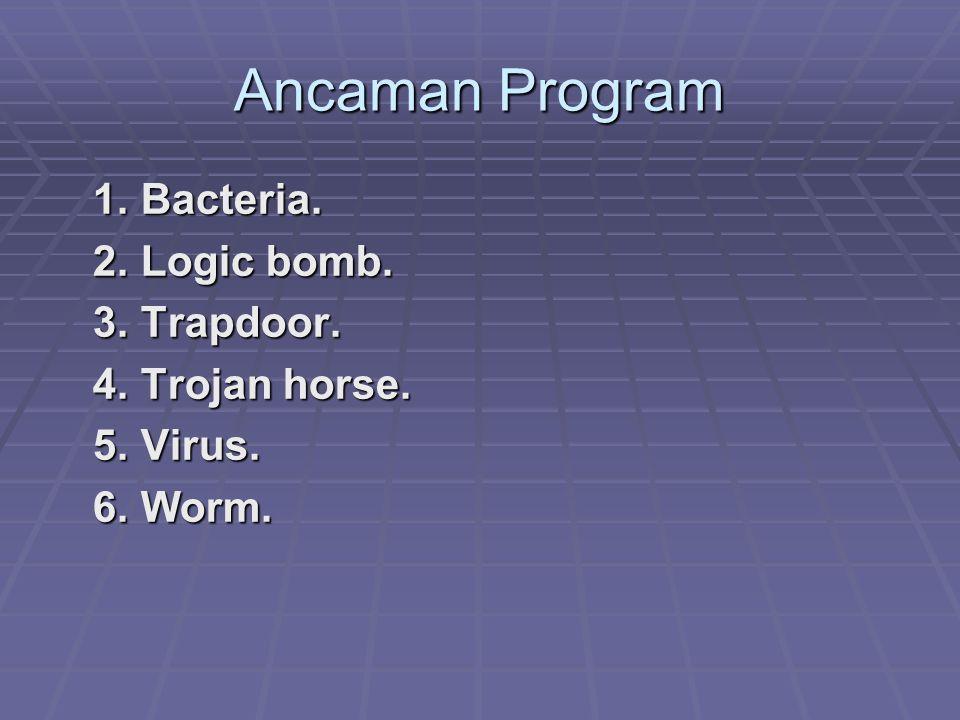 Ancaman Program 1.Bacteria. 1. Bacteria. 2. Logic bomb.