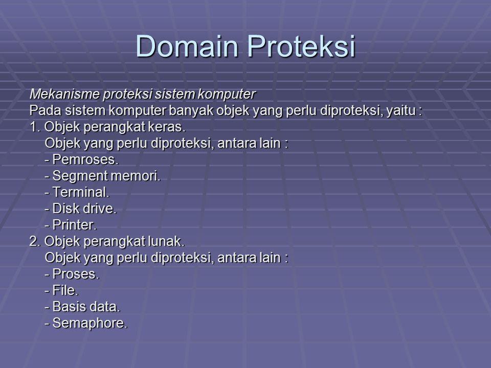 Domain Proteksi Mekanisme proteksi sistem komputer Pada sistem komputer banyak objek yang perlu diproteksi, yaitu : 1. Objek perangkat keras. Objek ya