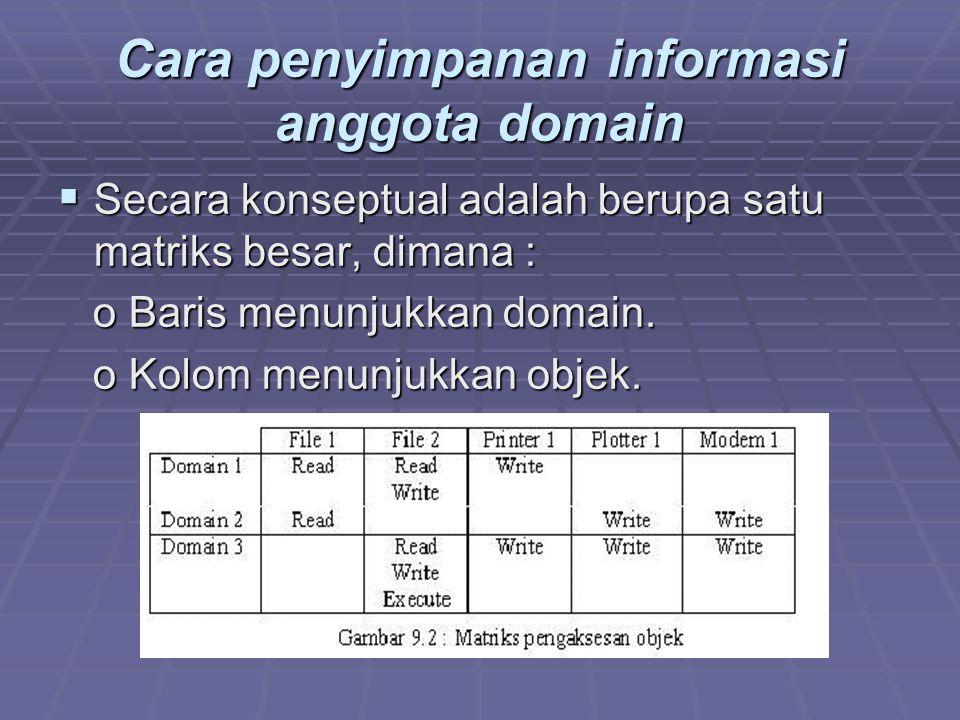 Cara penyimpanan informasi anggota domain  Secara konseptual adalah berupa satu matriks besar, dimana : o Baris menunjukkan domain.