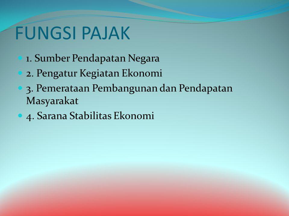 FUNGSI PAJAK 1. Sumber Pendapatan Negara 2. Pengatur Kegiatan Ekonomi 3. Pemerataan Pembangunan dan Pendapatan Masyarakat 4. Sarana Stabilitas Ekonomi