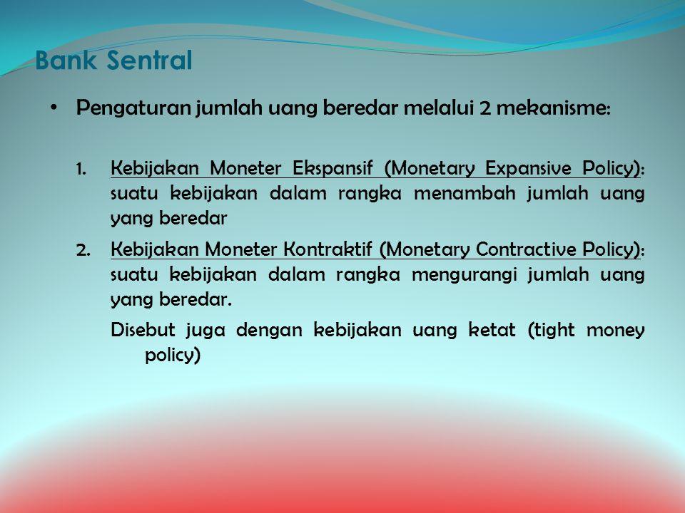 Bank Sentral Pengaturan jumlah uang beredar melalui 2 mekanisme: 1.Kebijakan Moneter Ekspansif (Monetary Expansive Policy): suatu kebijakan dalam rang