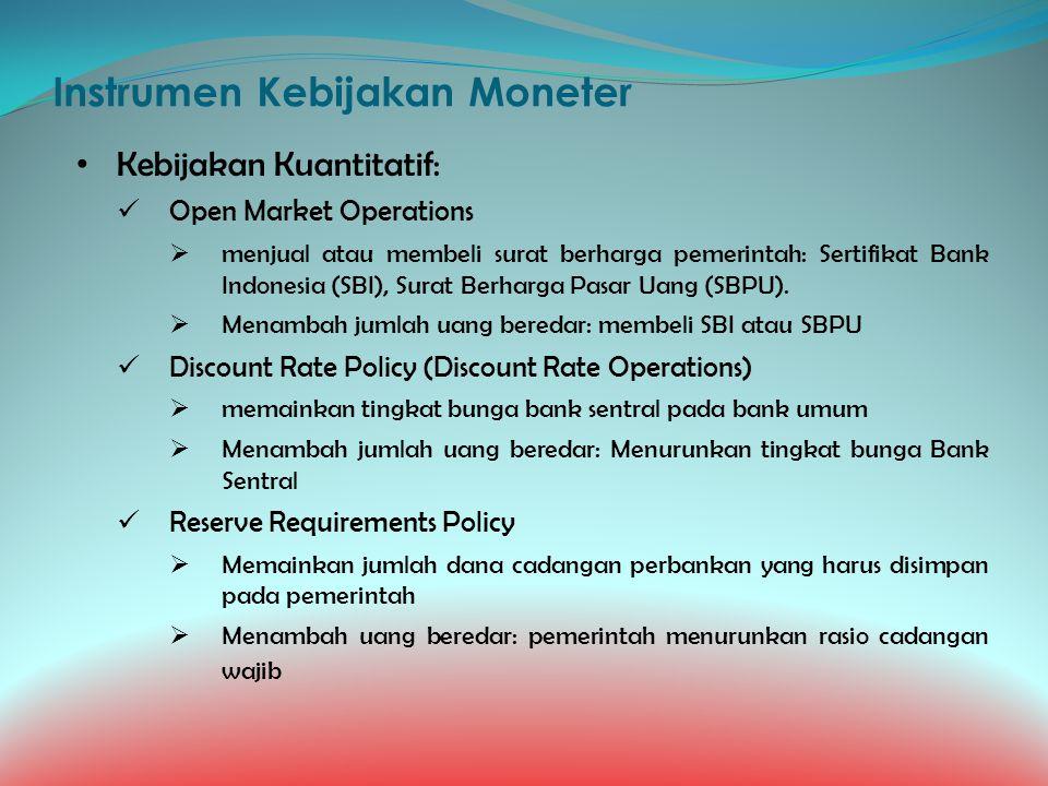 Instrumen Kebijakan Moneter Kebijakan Kuantitatif: Open Market Operations  menjual atau membeli surat berharga pemerintah: Sertifikat Bank Indonesia