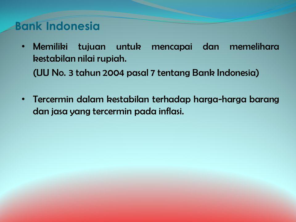 Bank Indonesia Memiliki tujuan untuk mencapai dan memelihara kestabilan nilai rupiah. (UU No. 3 tahun 2004 pasal 7 tentang Bank Indonesia) Tercermin d