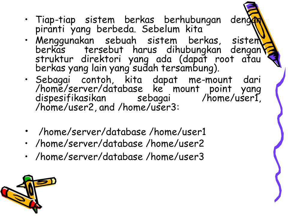 Tiap-tiap sistem berkas berhubungan dengan piranti yang berbeda.