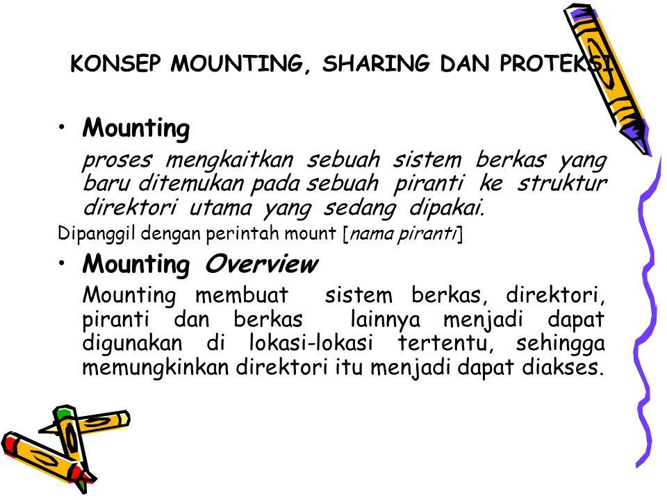 KONSEP MOUNTING, SHARING DAN PROTEKSI Mounting proses mengkaitkan sebuah sistem berkas yang baru ditemukan pada sebuah piranti ke struktur direktori utama yang sedang dipakai.