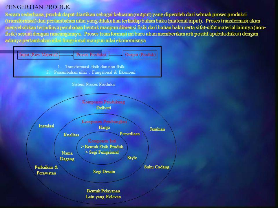 PENGERTIAN PRODUK Secara sederhana, produk dapat diartikan sebagai keluaran (output) yang diperoleh dari sebuah proses produksi (transformasi) dan per