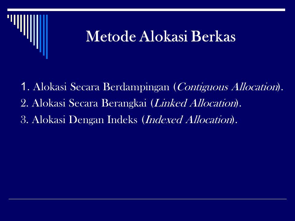 Metode Alokasi Berkas 1. Alokasi Secara Berdampingan (Contiguous Allocation). 2. Alokasi Secara Berangkai (Linked Allocation). 3. Alokasi Dengan Indek