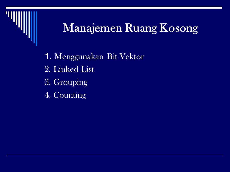 Manajemen Ruang Kosong 1. Menggunakan Bit Vektor 2. Linked List 3. Grouping 4. Counting