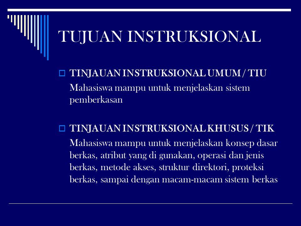  TINJAUAN INSTRUKSIONAL UMUM / TIU Mahasiswa mampu untuk menjelaskan sistem pemberkasan  TINJAUAN INSTRUKSIONAL KHUSUS / TIK Mahasiswa mampu untuk m