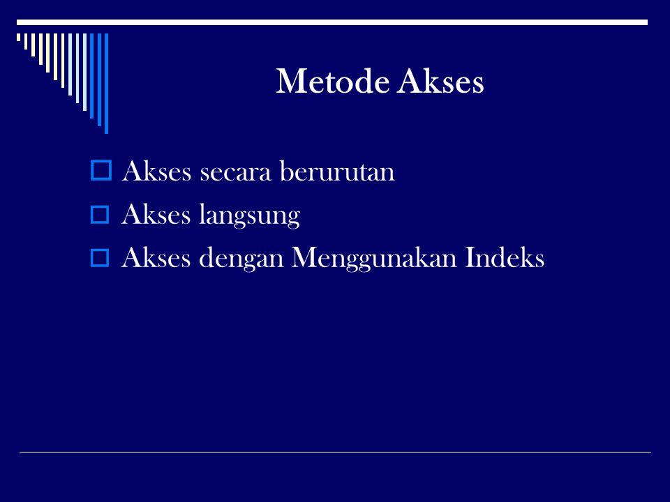 Metode Akses  Akses secara berurutan  Akses langsung  Akses dengan Menggunakan Indeks