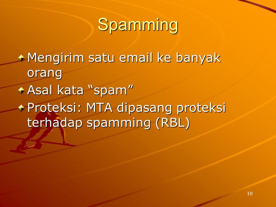 """10 Spamming Mengirim satu email ke banyak orang Asal kata """"spam"""" Proteksi: MTA dipasang proteksi terhadap spamming (RBL)"""