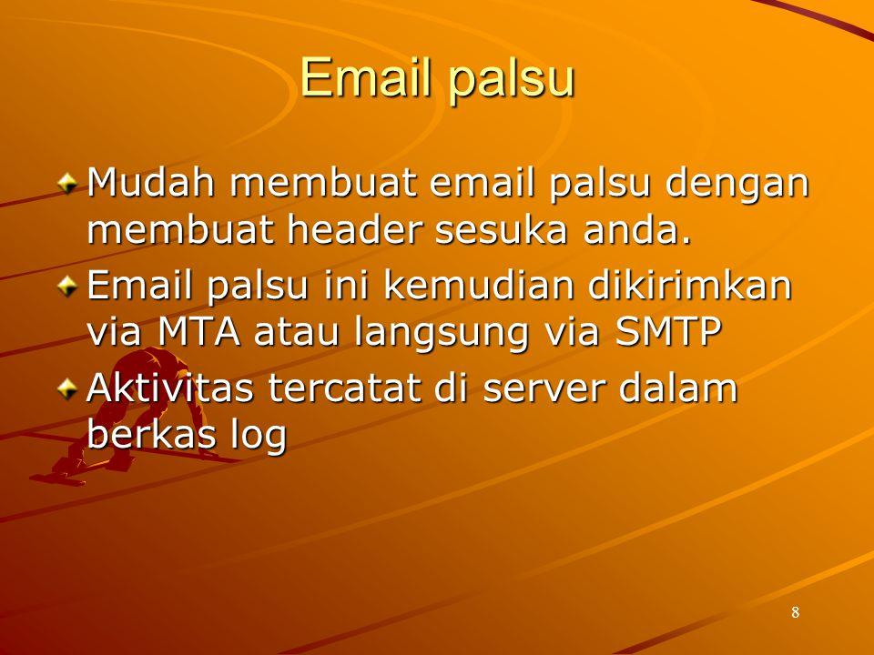 8 Email palsu Mudah membuat email palsu dengan membuat header sesuka anda. Email palsu ini kemudian dikirimkan via MTA atau langsung via SMTP Aktivita