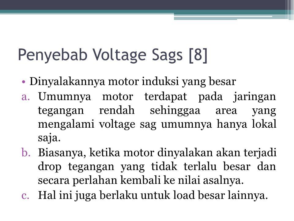 Penyebab Voltage Sags [8] Dinyalakannya motor induksi yang besar a.Umumnya motor terdapat pada jaringan tegangan rendah sehinggaa area yang mengalami voltage sag umumnya hanya lokal saja.