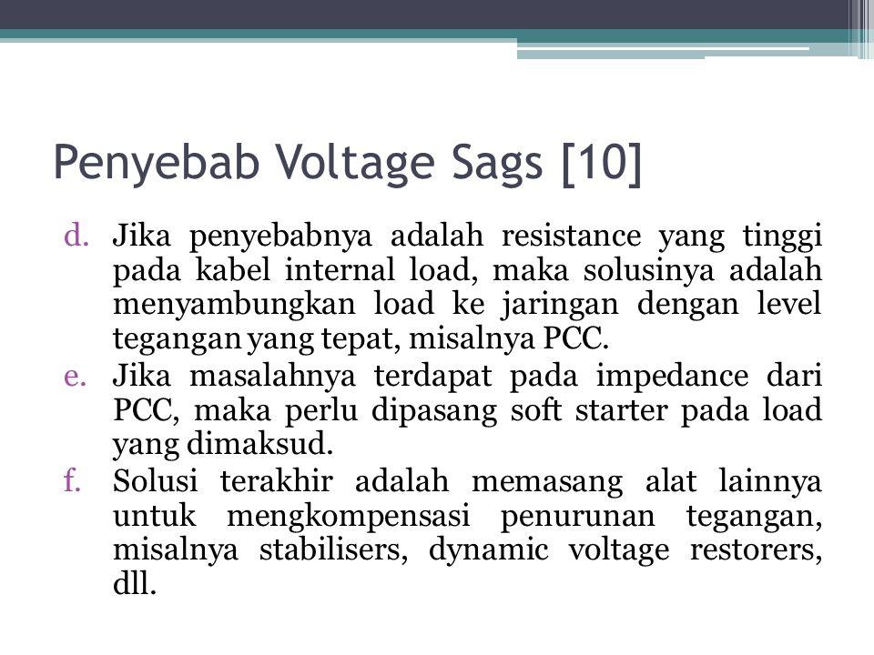 Penyebab Voltage Sags [10] d.Jika penyebabnya adalah resistance yang tinggi pada kabel internal load, maka solusinya adalah menyambungkan load ke jaringan dengan level tegangan yang tepat, misalnya PCC.
